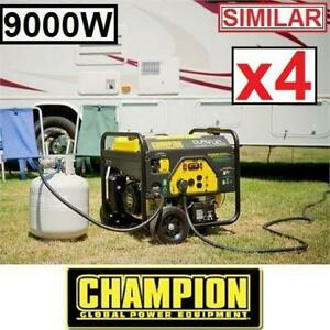 4 RFB CHAMPION 439CC GAS GENERATOR 100155 235002560 DUAL FUEL GASOLINE PROPANE 9000W 7000W ELECTRIC START REFURBISHED