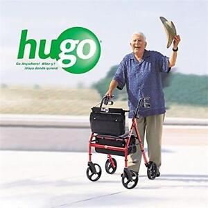 NEW HUGO ELITE ROLLATOR WALKER SCOOTER with Seat, Backrest and Saddle Bag, Garnet Red Pharmacy Home Health Care Mobility