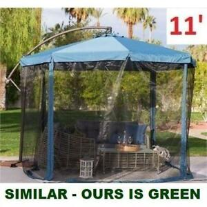NEW 11 OFFSET PATIO UMBRELLA 242288180 WITH MOSQUITO NET FORREST GREEN