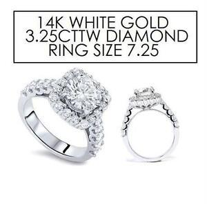NEW STAMPD 14K P3 DIAMOND RING 7.25 JEWELLERY - STAMPED 14K WHITE GOLD P3 - 3.25CTTW DIAMOND - CUSHION HALO