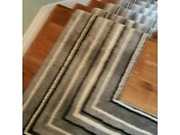 STIPED CARPET / WHIPPED EDGING /CHROME STAIR RODS