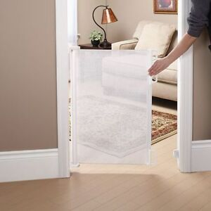 Retractable White Mesh Baby Gate