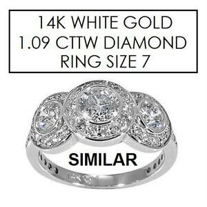 NEW* STAMPED 14K DIAMOND RING 7 JEWELLERY - JEWELRY - 14K WHITE GOLD - 1.09 CTTW DIAMOND  81988167