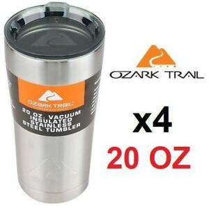 4 NEW SS TRAVEL MUG 20 OZ 201867374 OZARK TRAIL STAINLESS STEEL SILVER THERMOS DOUBLE WALL VACUUM TUMBLER