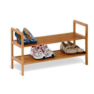NEW: OPENED BOX Honey-Can-Do 2-tier bamboo shoe shelf