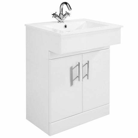 Brand New - High Gloss White Vanity Unit with Ceramic Basin W610 x D330mm