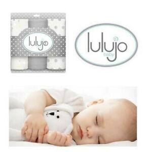 NEW 3PK LULUJO MUSLIN CLOTHS 244873641 28x28 MULTIFUNCTIONAL MINI MUSLIN BLANKETS COTTON GREY BABY SET