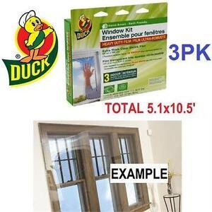 NEW DUCK WINDOW FILM KIT 3 PACK INSULATES THREE 3x5' WINDOWS - INSULATION - HEAVY DUTY WINDOW FILM - WINDOW SEAL