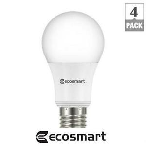 NEW ECOSMART LED LIGHT BULB 4 PACK 60W EQUIVALENT DAYLIGHT A19 ENERGY STAR+ DIMMABLE LED