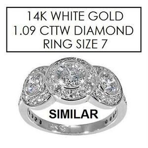 NEW* STAMPED 14K DIAMOND RING 7 JEWELLERY - JEWELRY - 14K WHITE GOLD - 1.09 CTTW DIAMOND  81988167