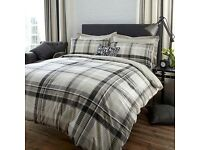 Dunelm salvage grey check duvet cover and curtains