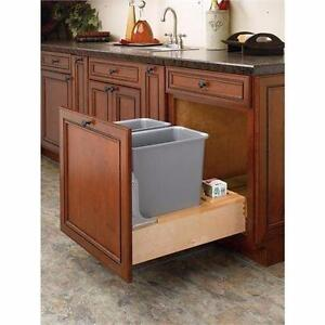 NEW PULL OUT WASTE CONTAINER 30QT Rev-A-Shelf Double 30 Qt. Bottom Mount Wood Waste Container - KITCHEN STORAGE 88820483