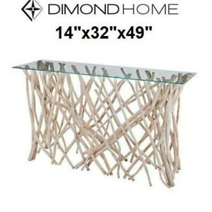 NEW* TEAK ROOT CONSOLE TABLE TN-891126 242829497 GLASS TOP DIAMOND HOME