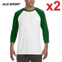 2 NEW ALO SHIRTS MEN'S XL  WHITE/GREEN T-SHIRT BASEBALL