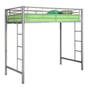 "NIB  Walker Edison twin loft bed + 12"" memory foam mattress"