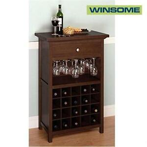 NEW WINSOME WOOD WINE CABINET   WOOD WINE CABINET WITH DRAWER AND GLASS HOLDER, WALNUT SHELVING SHELF FURNITURE 91555225