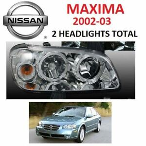 2002 2003 MAXIMA CRYSTAL HALO HEADLIGHTS LAMPS x 2 Headlights