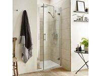 Polished chrome hinged shower door