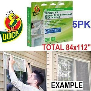 NEW DUCK WINDOW FILM KIT 5 PACK OUTDOOR DOOR INSULATES FIVE 3x5' WINDOWS - INSULATION - HEAVY DUTY SHRINK FILM 75448348