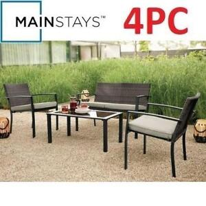 NEW 4PC MAINSTAYS CONVERSATION SET STS4Y8E 201028981 WICKER OUTDOOR PATIO FURNITURE