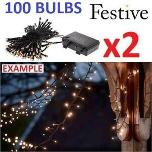 2 NEW FESTIVE CHRISTMAS LIGHTS P019134 223579815 STRING BATTERY OPERATED TIMER LED WARM WHITE 2 BOXES OF 100 BULBS XM...