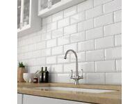 120x Victoria Metro Wall Tiles - Gloss White - 20 x 10cm