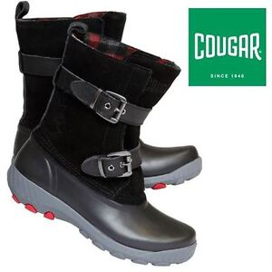 NEW COUGAR LEATHER BOOTS WOMEN'S 8 BLACK  Model #:MAPLE CREEKCur