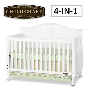 NEW* CHILD CRAFT CONVERTIBLE CRIB Child Craft™ Camden 4-in-1 Convertible Crib - WHITE FURNITURE CRIBS BEDS BEDDING