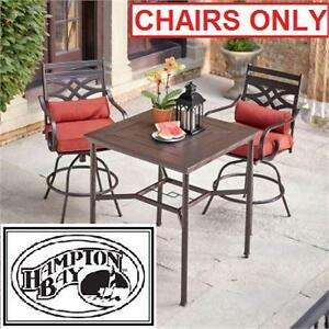 NEW HB MIDDLETON BALCONY CHAIRS 2PK HAMPTON BAY - 2 PACK - PATIO MOTION - CUSHION INSERTS - FURNITURE OUTDOOR LIVING