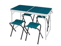 Quechua unused portable folding table & 4 chairs in EXCELLENT condition