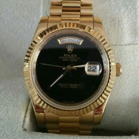Rolex Day Date Presidential Gold Onyx With Box, Papers