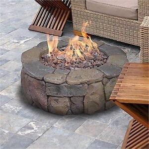 "NEW* BOND PINYON GAS STONE FIRE PIT FIRE BOWL - 28"" X 28"" X 9.1"" H OUTDOOR PATIO HEATING  89699321"