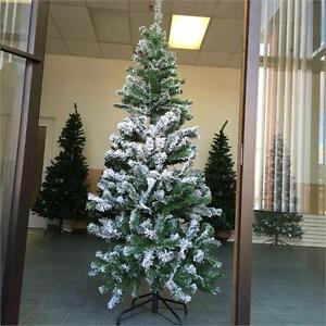 NEW, 6 FeeT Wrapped Christmas Tree with Snow & Metal Base- PRE17J60534S