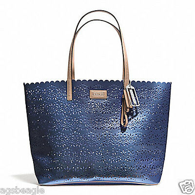 Coach Bag F27544 Metro Eyelet Leather Tote Silver Slate With Pouch Agsbeagle COD