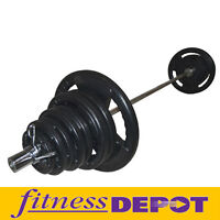 New 300lbs Olympic Rubber Weights Plates Bar Barbell Collars Set