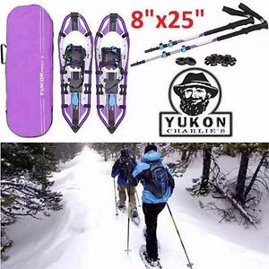 "NEW YC PRO II WOMEN'S SNOWSHOE KIT YUKON CHARLIE'S - 8""x25"" - INCLUDES POLES CARRYING BAG WINTER SPORT WALKING  84800485"