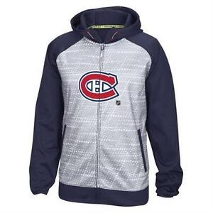 MONTREAL CANADIENS REEBOK GRAY CENTRE ICE TNT PERFORMANCE FULL-ZIP HOODIE-XL