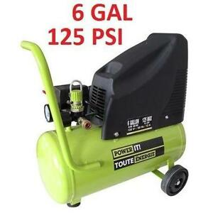 NEW POWER IT! 6 GAL AIR COMPRESSOR 120 V - 6 GAL - 125 PSI - 17PC INFLATION KIT - COMPRESSORS POWER HAND PORTABLE