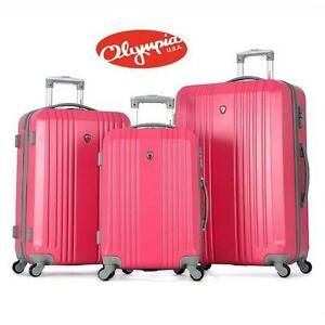 NEW OLYMPIA 3PC LUGGAGE SET PINK- HARD SPINNER SET - SUITCASE BAG TRAVEL GEAR BAG