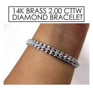 "NEW 14K BRS 2CTTW DIAMOND BRACELET JEWELLERY - 14K BRASS - 2.00 CTTW DIAMOND - 9"""
