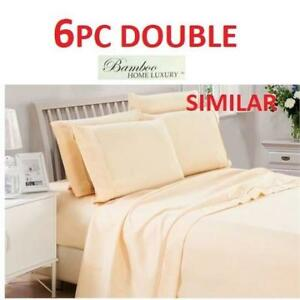 NEW BAMBOO 6PC BED SHEET SET DOUBLE HA-1114D 223458205 HOME LUXURY 6800 SERIES DEEP POCKET WRINKLE FREE BEDDING BEDROOM