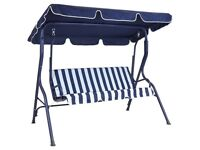 2 Seater Patio Swing Seat Chair Hammock - Blue and White Striped