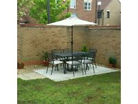 6 seater patio set with parasol