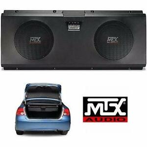 "NEW MTX DUAL 10"" ENCLOSED SUBWOOFER   XTL210P - BUILT-IN 200W RMS AMPLIFIER - 600W MAX POWER CAR AUDIO SPEAKER  83090983"