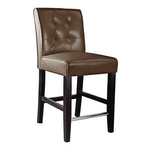 Super Comfy,Counter Height Bar Stool in Dark Brown Leather