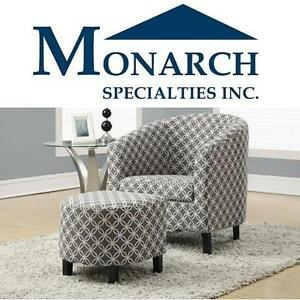 NEW MS GREY ACCENT CHAIR + OTTOMAN - 109103060 - MONARCH SPECIALTIES GREY ACCENT CHAIR AND OTTOMAN
