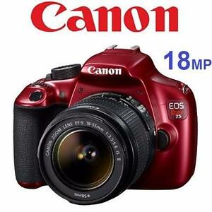 REFURB CANON REBEL T5 W/ 18-55 LENS   18MP - RED - DSLR CAMERA - PHOTOGRAPHY ELECTRONICS   93350250