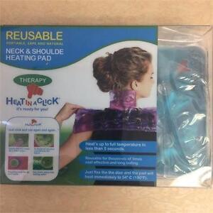 HEAT IN A CLICK- REUSABLE-Neck and Shoulder Heating Pad Therapy BLUE