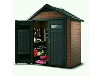 Keter Fusion Large Plastic Garden Shed New!!! RRP £799