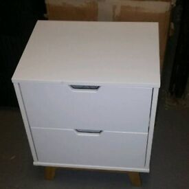 A brand new stylish white finish 2 drawer bedside table.